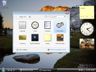 Trucos Windows Vista Gadget Rendimiento