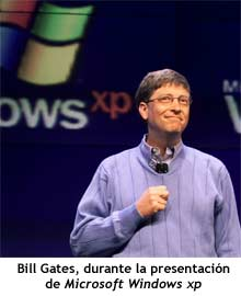 Bill Gates, durante la presentaci�n de Microsoft Windows xp